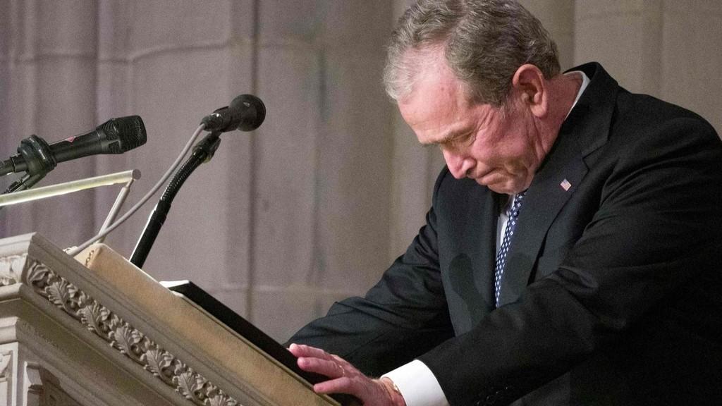 🕯️老布什国葬,小布什致悼词哽咽落泪